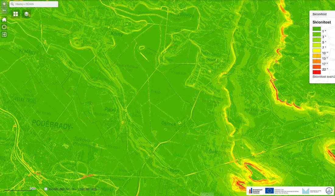 Mapa sklonitosti terénu s legendou