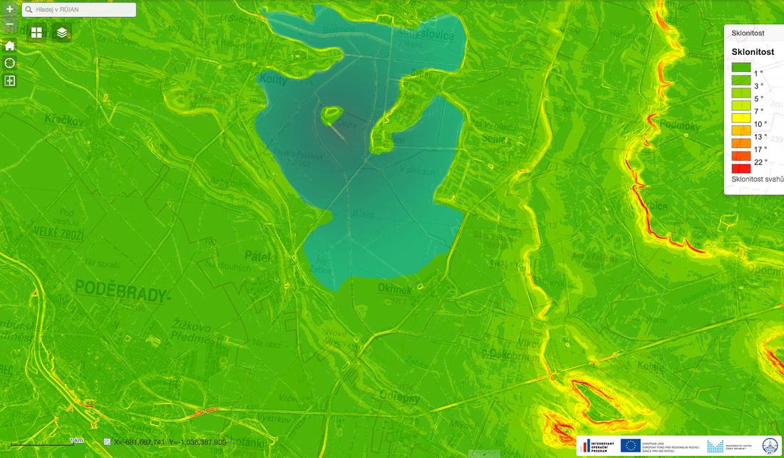 Mapa sklonitosti terénu s rybníkem