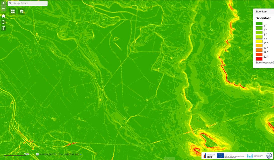 Mapa sklonitosti terénu